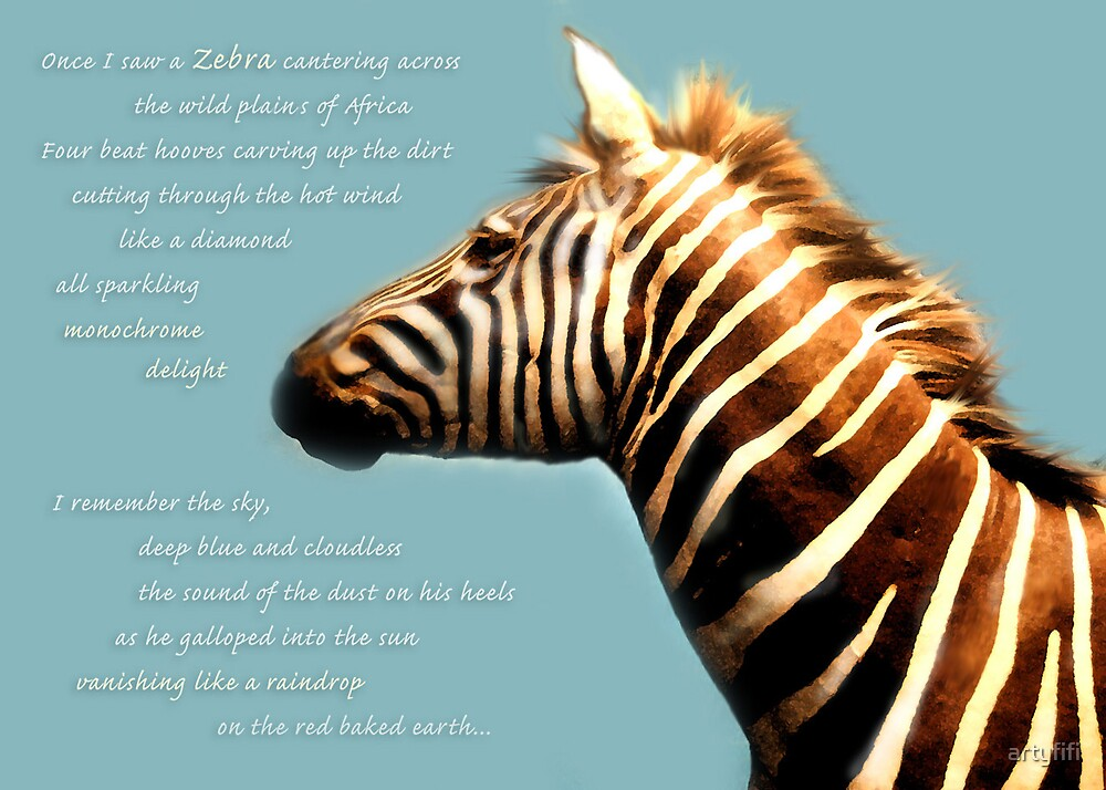 Zebra Poem Card by artyfifi