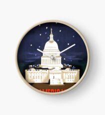 Washington Travel Poster Clock