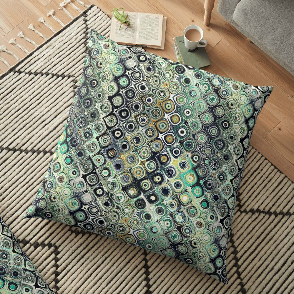 Green And Gold Shapes Pattern Floor Pillow