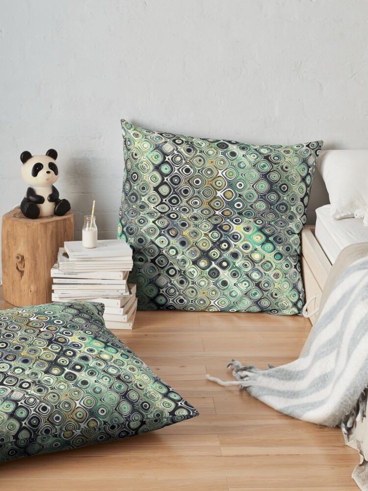 Alternate view of Green And Gold Shapes Pattern Floor Pillow