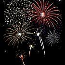 Silvester. Buntes Feuerwerk mit Sternen. von Christine Krahl