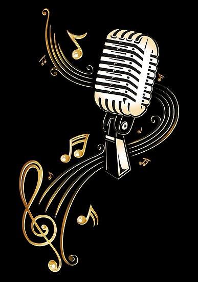 Posters Microfono Retro Con Notas Musicales Y Clave De Christine