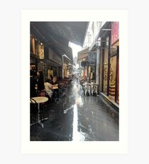 Melbourne Laneway in the Rain - Block Place Art Print