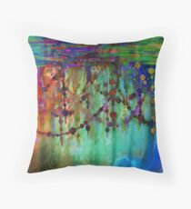 PRISMACOLOR PEARLS 1 Colorful Rainbow Watercolor Abstract Painting Blue Green Teal Red Ocean Waves Fine Art Throw Pillow