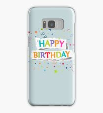 Happy Birthday Greetings on Ripped Paper Samsung Galaxy Case/Skin