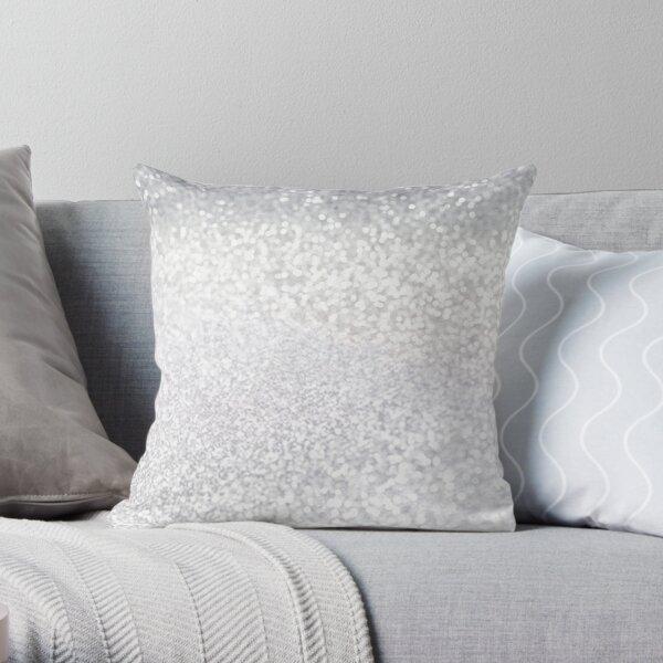 Silver White glitter Throw Pillow