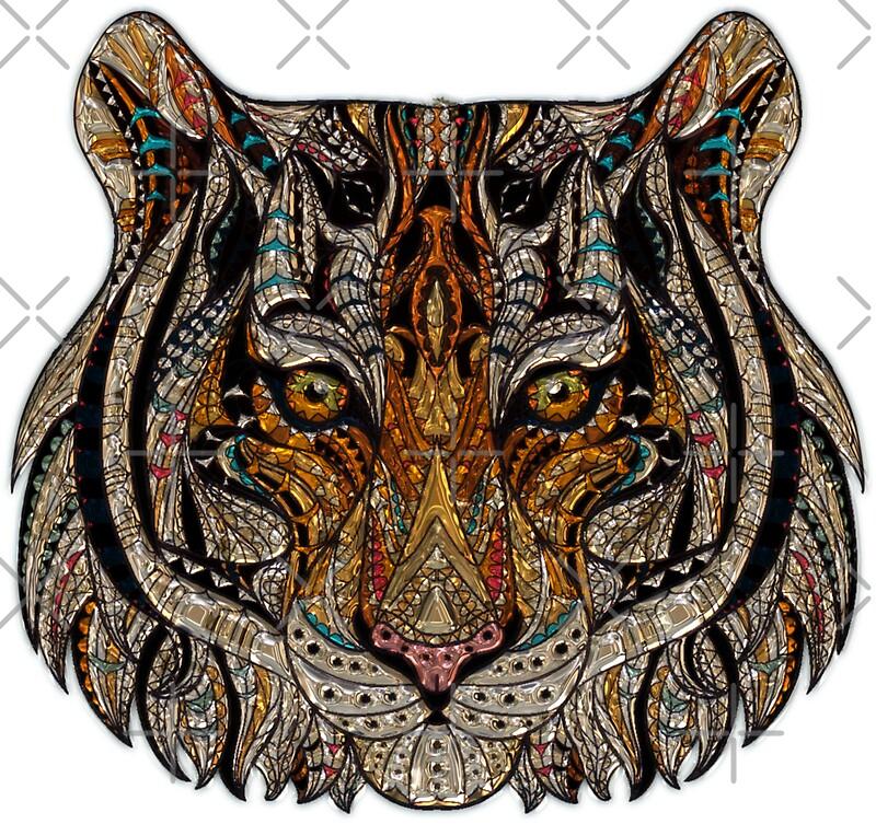 Tribal safari tiger face graphic by printpress