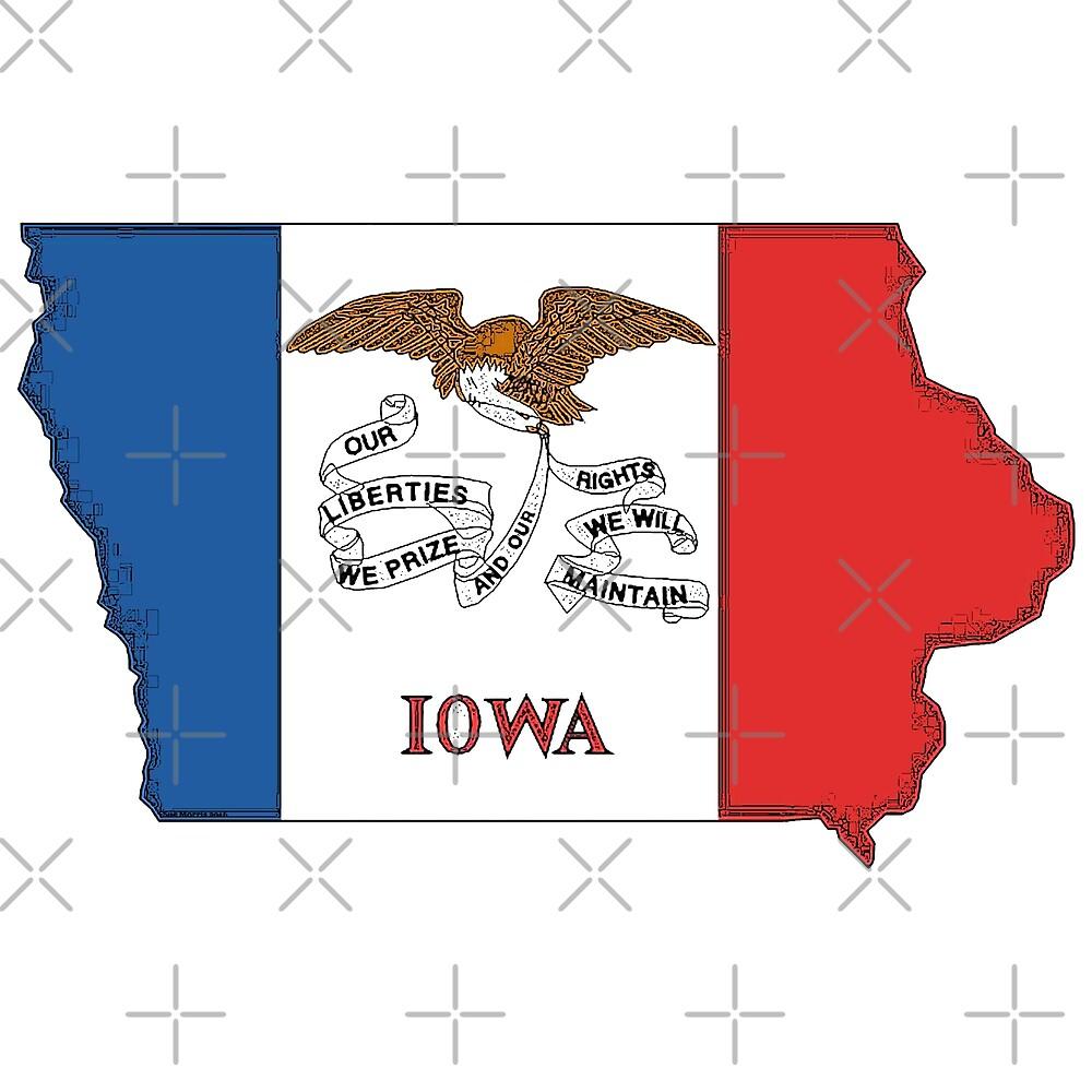 Iowa Map With Iowa State Flag by Havocgirl