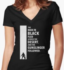 The Dark Tower - Desert white Women's Fitted V-Neck T-Shirt
