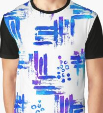 Blue brush watercolor on white Graphic T-Shirt