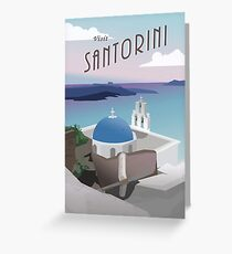 Visit Santorini Greece: Retro/Vintage Travel Poster Greeting Card