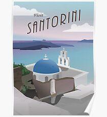 Besuchen Sie Santorini Griechenland: Retro / Vintage Travel Poster Poster