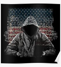 Untouchable, T-Shirt, Eminem Revival Album, Word Cloud with Grunge American Flag Poster