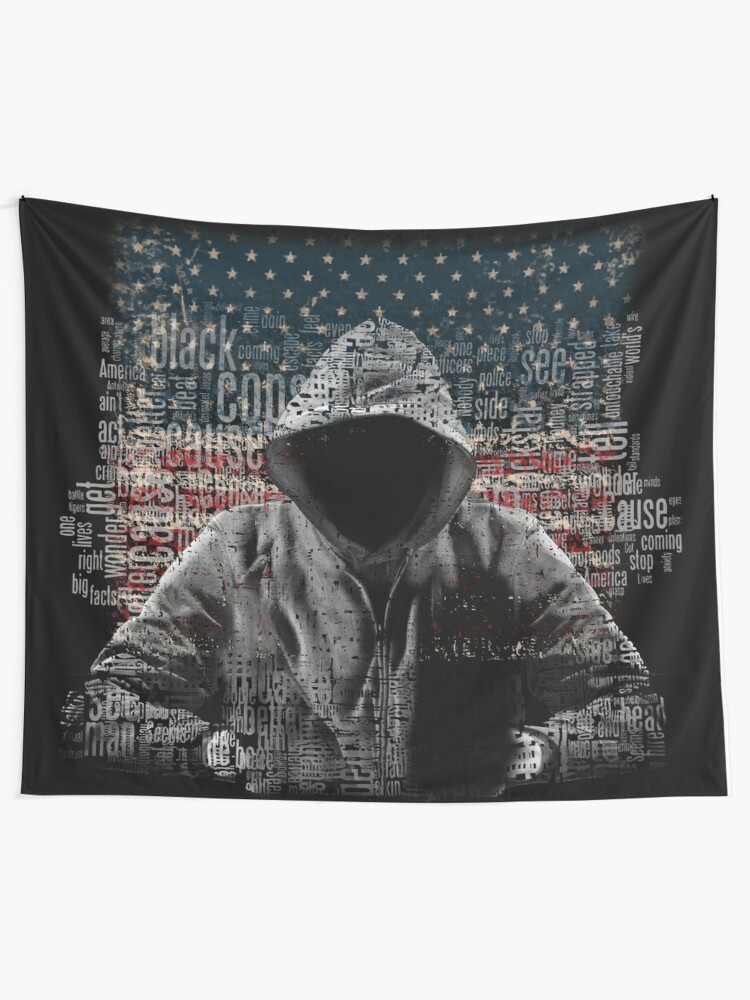 Untouchable, T-Shirt, Eminem Revival Album, Word Cloud with Grunge American  Flag | Wall Tapestry