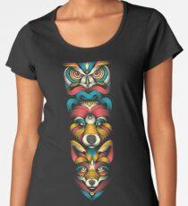 Camiseta premium de cuello ancho Totem de animales del bosque