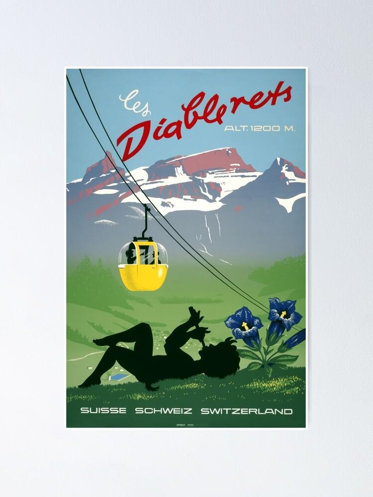 Switzerland Vintage Travel Poster Les Diablerets A4A3 FramedUnframed