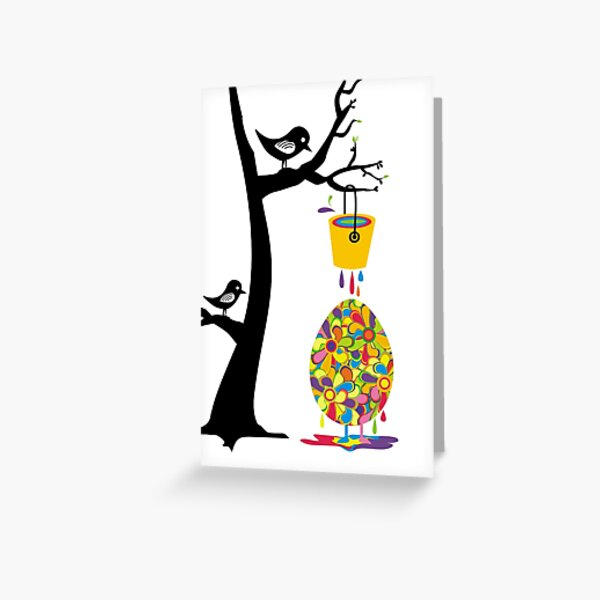 Cute birds in tree paint bucket painting Easter egg Greeting Card