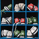 Bowling Shoes - realistic still life fine art oil painting by LindaAppleArt