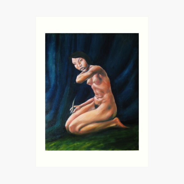 nude girl at stage curtain Art Print