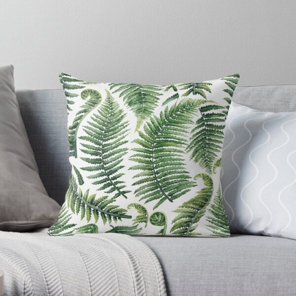 Watercolor fern leaves Throw Pillow