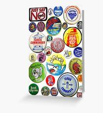Vintage Badges & Pins Collage  Greeting Card