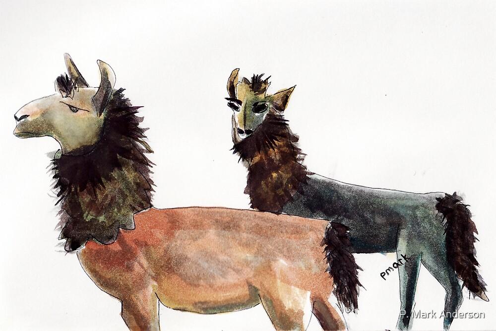 Pair of Llamas by P. Mark Anderson