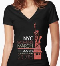 NYC Women's March 2018 Women's Fitted V-Neck T-Shirt
