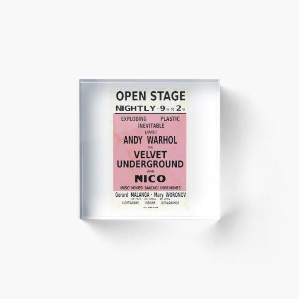 VELVET UNDERGROUND NICO ANDY WARHOL VINTAGE POSTER Acrylic Block