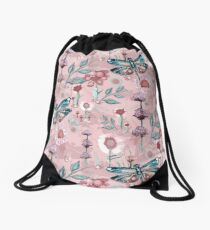 Blush Pink Dragonfly Flower Garden Drawstring Bag