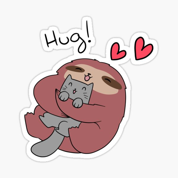 Sloth Hugs Cat Sticker