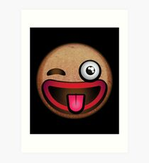 Silly Winking Gingerbread Man Face Emoji  Art Print