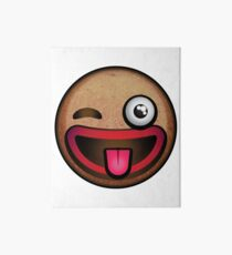Silly Winking Gingerbread Man Face Emoji  Art Board