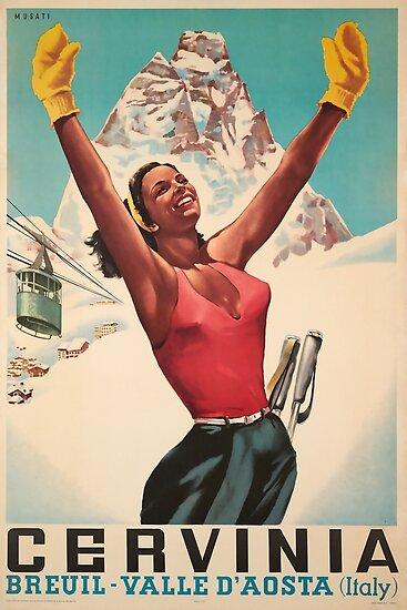 Cervinia, Breuil - Valle d'Aosta, Italien, Ski-Plakat von BokeeLee