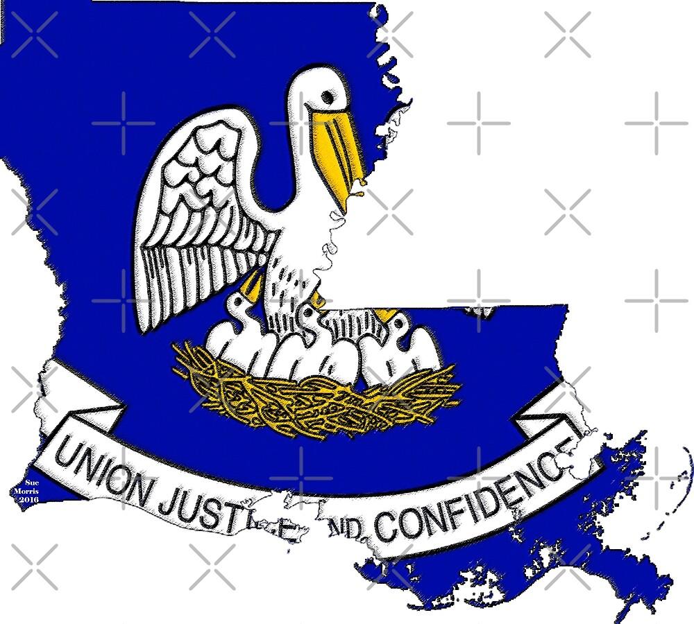 Louisiana Map with Louisiana State Flag by Havocgirl
