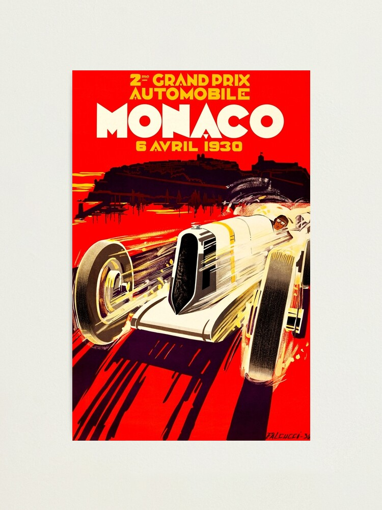 Vintage 1950/'s Prints-Art Deco-1929 image  for French Grand Prix  at Antibes.