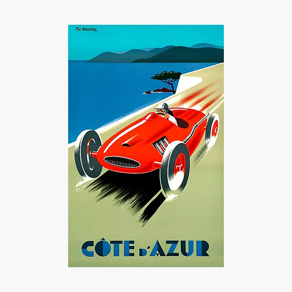 Cote d' Azur, French Rivera - Vintage Racing Poster Photographic Print