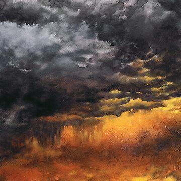 Watercolor Sky No 6 - dramatic storm clouds by kkmiecikart