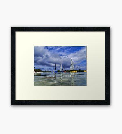 Sailing at Muri Beach Framed Print