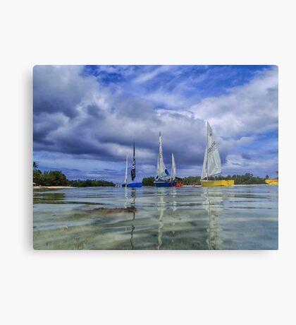 Sailing at Muri Beach Metal Print