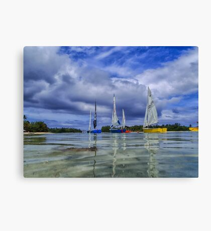 Sailing at Muri Beach Canvas Print