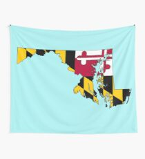 Maryland Map With Maryland State Flag Wall Tapestry