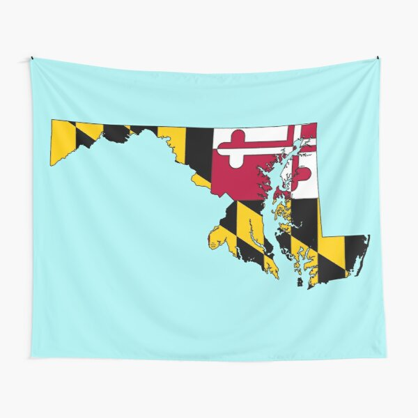 Maryland Map With Maryland State Flag Tapestry