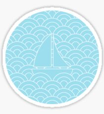 sailing boats on waves, white and pastel blue Sticker