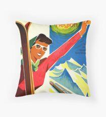 Switzerland Jungfrau Region, Skiing - Vintage Travel Sports Poster Throw Pillow