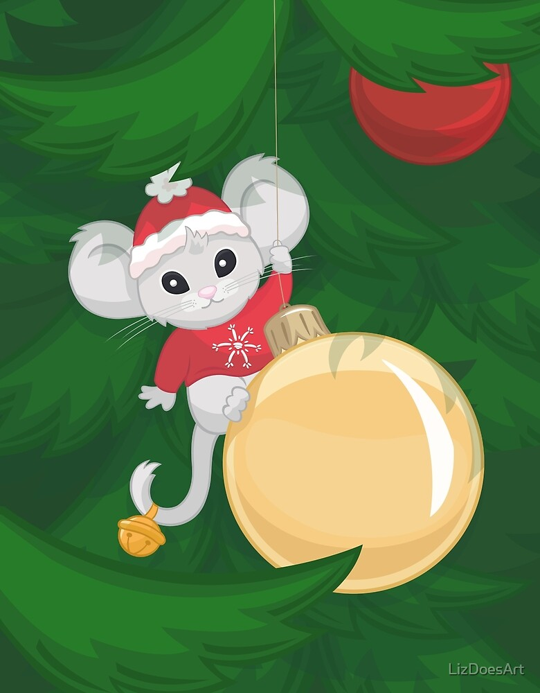 Christmas Mouse by LizDoesArt