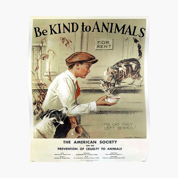 Be Kind to Animals - Vintage Poster Poster