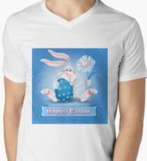 Cool Blue Happy Easter Men's V-Neck T-Shirt