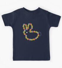 Colorful Jigsaw Baby Bunny with White Nose Kids Tee