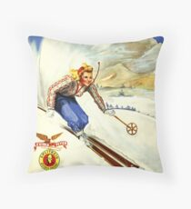 The Inn Unique of Notchland, IN, Crawford Notch - Vintage Skiing Travel Poster Throw Pillow