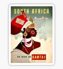 South Africa Qantas - Vintage Travel Poster Sticker